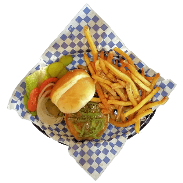 Smoken Moe's Green Chili Cheese Burger