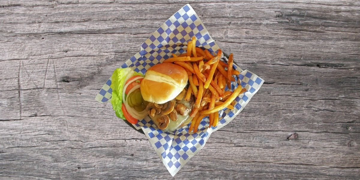 Smoken Moe's Unreal BBQ Menu - Mushroom Swiss Burger